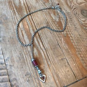 Silver & Dark Red Brighton Necklace